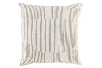 Accent Pillow-Natural Embroidered Abstract 22X22