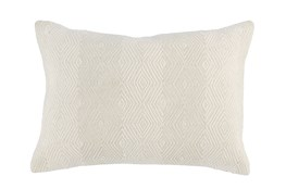 Accent Pillow-Ivory Embroidered Diamonds 14X20