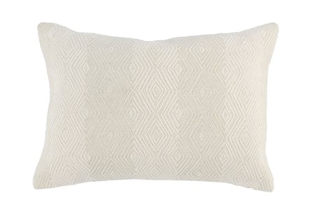 Accent Pillow-Ivory Embroidered Diamonds 14X20 - Main