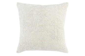 Accent Pillow-White Tradtional Embroidery 22X22