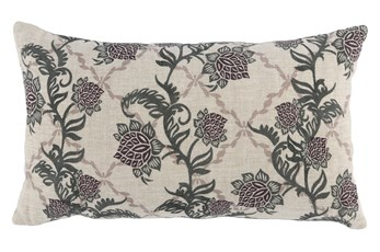 Accent Pillow-Bay Green Floral Vine 14X26