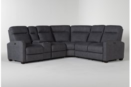 "Jarrell Blue Grey 3 Piece 101"" Power Reclining Sectional With Left Arm Facing Console Loveseat"