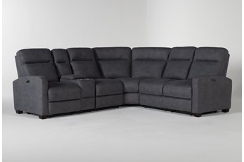 Jarrell Blue Grey 3 Piece Power Reclining Sectional With Left Arm Facing Console Loveseat