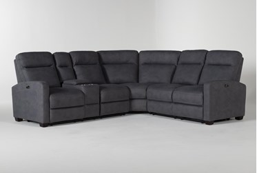 """Jarrell Blue Grey 3 Piece 101"""" Power Reclining Sectional With Left Arm Facing Console Loveseat"""