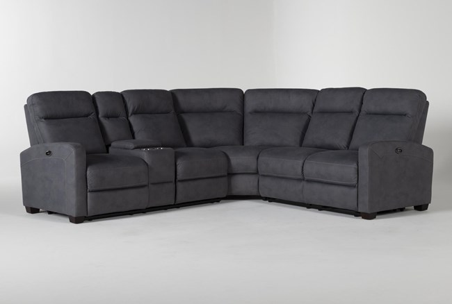 """Jarrell Blue Grey 3 Piece 101"""" Power Reclining Sectional With Left Arm Facing Console Loveseat  - 360"""