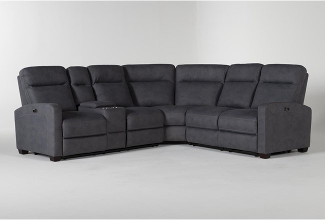 Jarrell Blue Grey 3 Piece Power Reclining Sectional With Left Arm Facing Console Loveseat  - 360