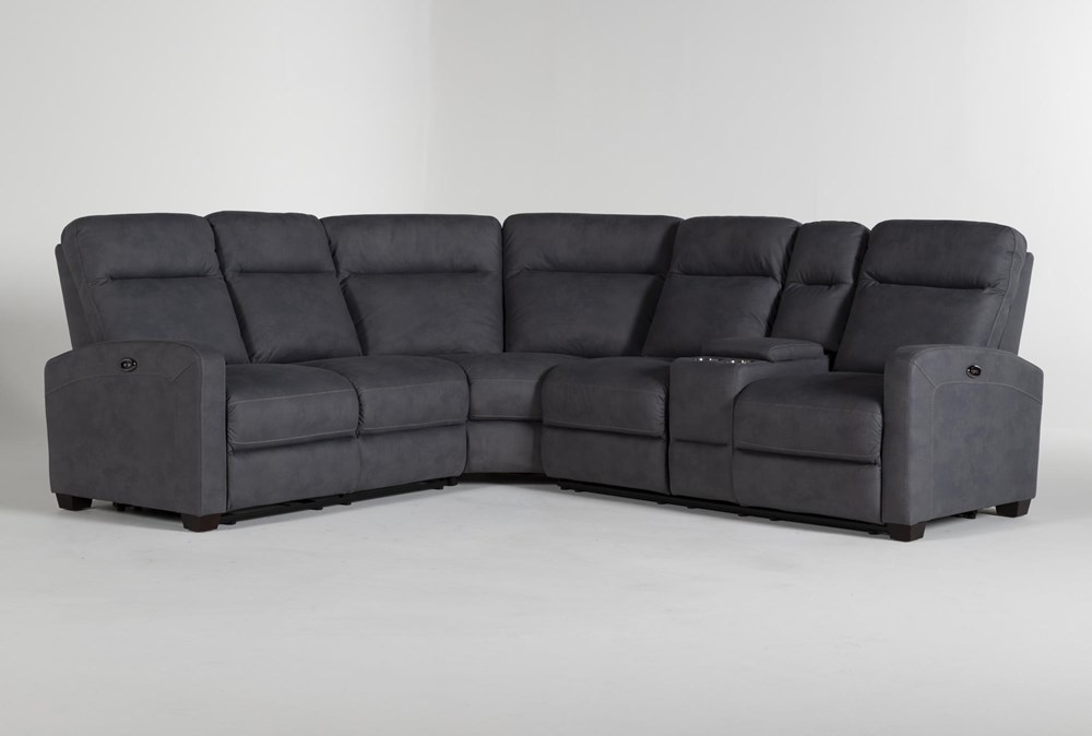 "Jarrell Blue Grey 3 Piece 101"" Power Reclining Sectional With Right Arm Facing Console Loveseat"