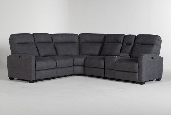 """Jarrell Blue Grey 3 Piece 101"""" Power Reclining Sectional With Right Arm Facing Console Loveseat  - 360"""