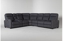 """Jarrell Blue Grey 4 Piece 123"""" Power Reclining Sectional With Left Arm Facing Console Loveseat"""