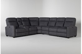 "Jarrell Blue Grey 4 Piece 123"" Power Reclining Sectional With Left Arm Facing Console Loveseat"