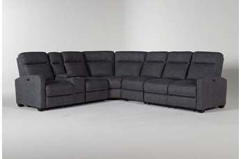Jarrell Blue Grey 4 Piece Power Reclining Sectional With Left Arm Facing Console Loveseat