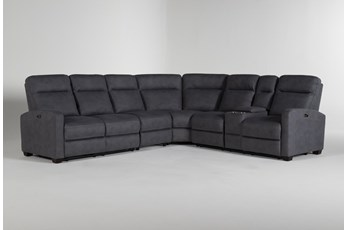 "Jarrell Blue Grey 4 Piece 123"" Power Reclining Sectional With Right Arm Facing Console Loveseat"