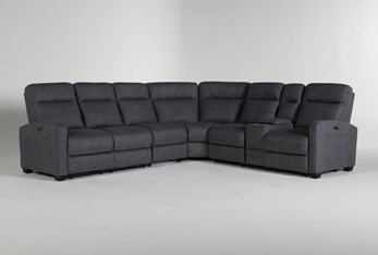 """Jarrell Blue Grey 4 Piece 123"""" Power Reclining Sectional With Right Arm Facing Console Loveseat"""