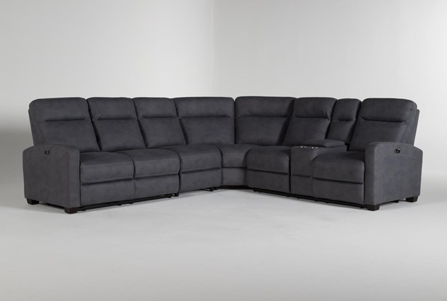 """Jarrell Blue Grey 4 Piece 123"""" Power Reclining Sectional With Right Arm Facing Console Loveseat  - 360"""