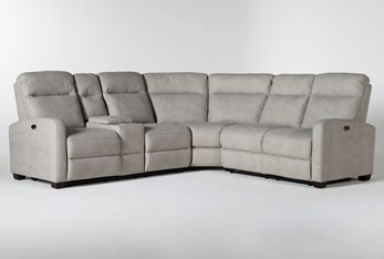 """Jarrell Grey 3 Piece 101"""" Power Reclining Sectional With Left Arm Facing Console Loveseat"""