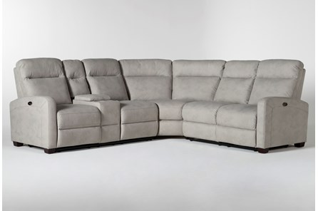 Jarrell Grey 3 Piece Power Reclining Sectional With Left Arm Facing Console Loveseat