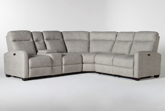 """Jarrell Grey 3 Piece 101"""" Power Reclining Sectional With Left Arm Facing Console Loveseat  - 360"""