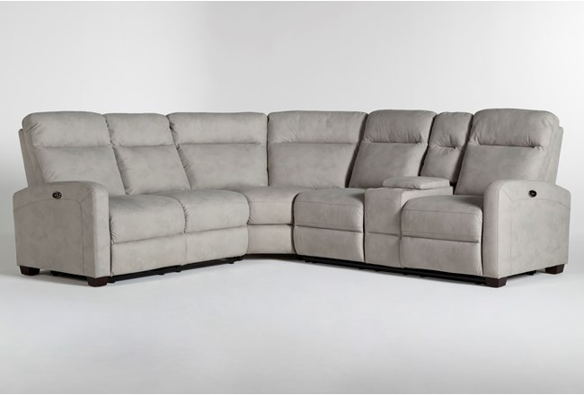 Jarrell Grey 3 Piece Power Reclining Sectional With Right Arm Facing Console Loveseat - 360