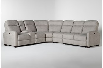 "Jarrell Grey 4 Piece 123"" Power Reclining Sectional With Left Arm Facing Console Loveseat"