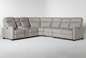 """Jarrell Grey 4 Piece 123"""" Power Reclining Sectional With Left Arm Facing Console Loveseat"""
