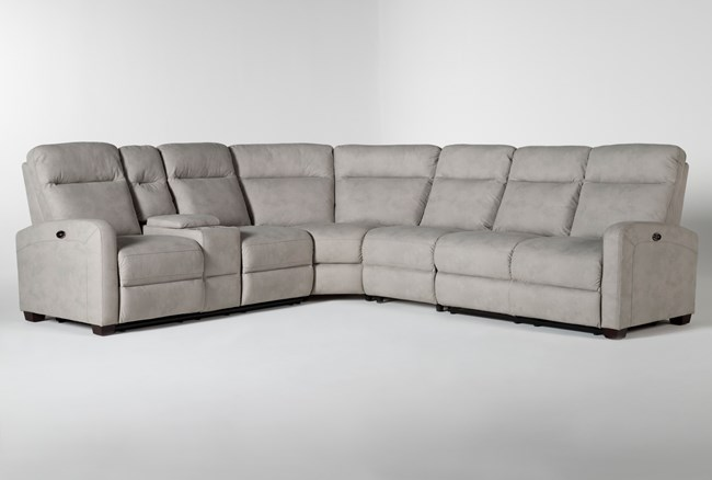 """Jarrell Grey 4 Piece 123"""" Power Reclining Sectional With Left Arm Facing Console Loveseat  - 360"""