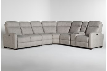 "Jarrell Grey 4 Piece 123"" Power Reclining Sectional With Right Arm Facing Console Loveseat"