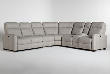 """Jarrell Grey 4 Piece 123"""" Power Reclining Sectional With Right Arm Facing Console Loveseat"""