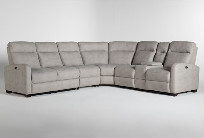 "Jarrell Grey 4 Piece 123"" Power Reclining Sectional With Right Arm Facing Console Loveseat  - 360"