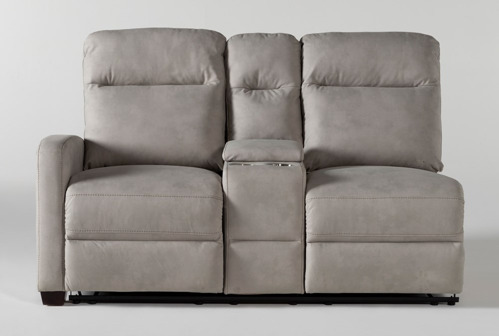 Jarrell Grey Left Arm Facing Dual Power Reclining Console Loveseat With USB