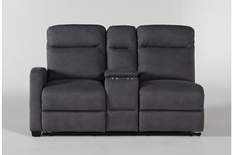 Jarrell Blue Grey Left Arm Facing Dual Power Reclining Console Loveseat With USB