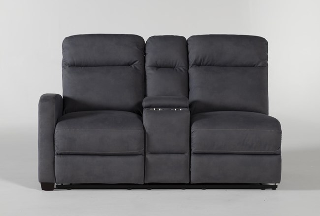 Jarrell Blue Grey Left Arm Facing Dual Power Reclining Console Loveseat With USB - 360
