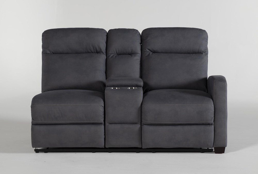 Jarrell Blue Grey Right Arm Facing Dual Power Reclining Console Loveseat With USB