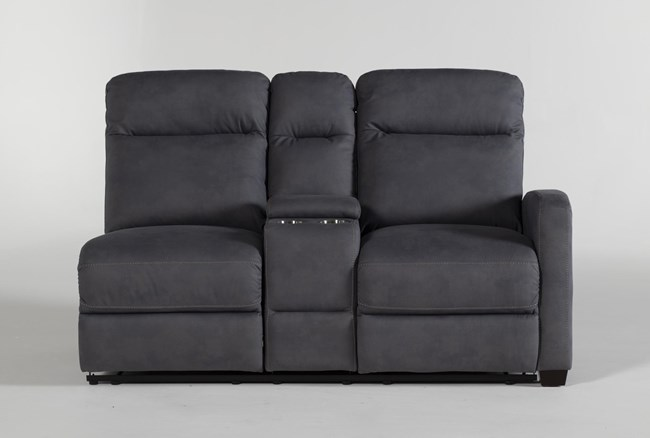Jarrell Blue Grey Right Arm Facing Dual Power Reclining Console Loveseat With USB - 360