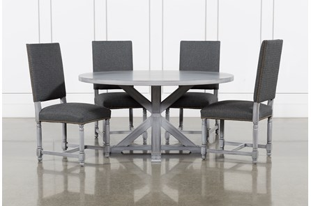 La Phillippe Cement 60 Inch 5 Piece Round Dining With Pacifica Charcoal Chairs