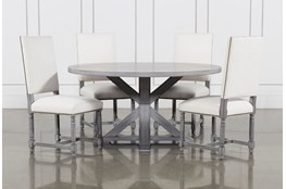 La Phillippe Cement 60 Inch 5 Piece Round Dining With Pacifica White Chairs