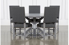 La Phillippe Cement 60 Inch 6 Piece Round Dining With Pacifica Charcoal Chairs