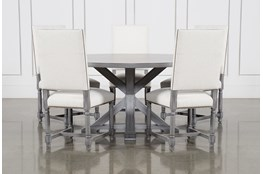 La Phillippe Cement 60 Inch 6 Piece Round Dining With Pacifica White Chairs