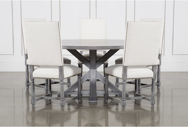 La Phillippe Cement 60 Inch 6 Piece Round Dining With Pacifica White Chairs - 360