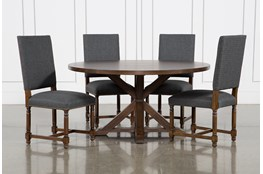 La Phillippe Cognac 60 Inch 5 Piece Round Dining With Pacifica Charcoal Chairs