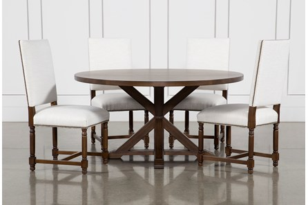 La Phillippe Cognac 60 Inch 5 Piece Round Dining With Pacifica White Chairs