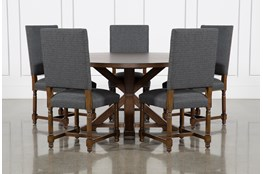 La Phillippe Cognac 60 Inch 6 Piece Round Dining With Pacifica Charcoal Chairs
