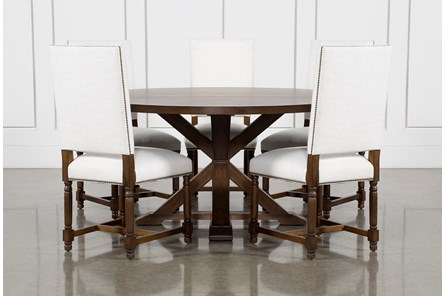 La Phillippe Cognac 60 Inch 6 Piece Round Dining With Pacifica White Chairs
