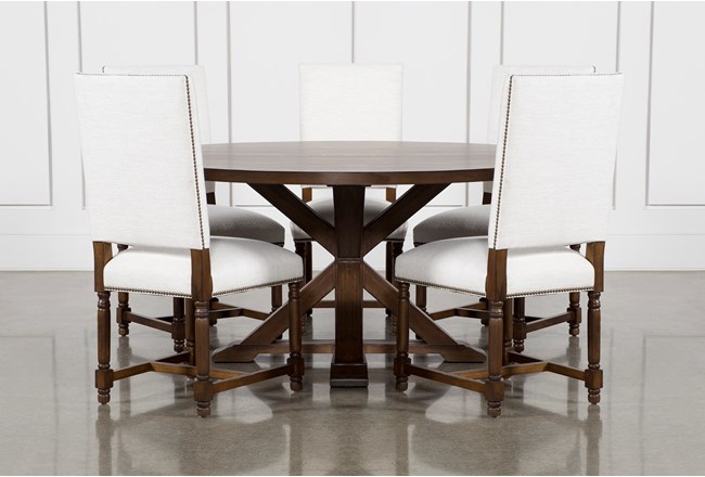 La Phillippe Cognac 60 Inch 6 Piece Round Dining With Pacifica White Chairs - 360