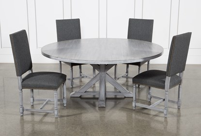 La Phillippe Cement 72 Inch 5 Piece Round Dining With Pacifica Charcoal Chairs