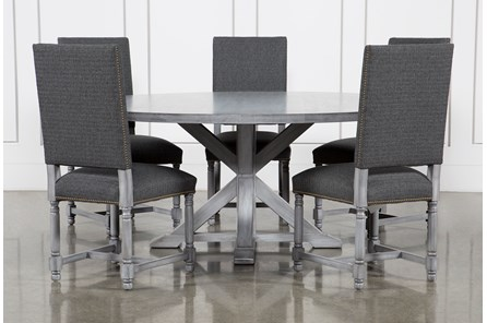 La Phillippe Cement 72 Inch 6 Piece Round Dining With Pacifica Charcoal Chairs
