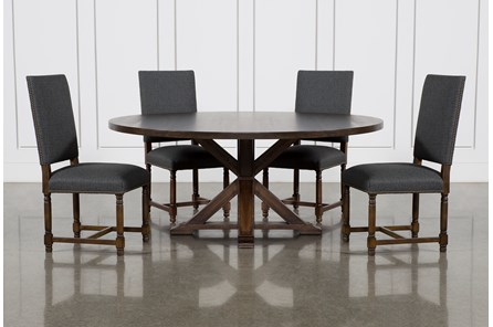 La Phillippe Cognac 72 Inch 5 Piece Round Dining With Pacifica Charcoal Chairs