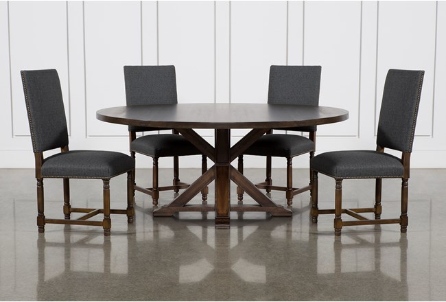 La Phillippe Cognac 72 Inch 5 Piece Round Dining With Pacifica Charcoal Chairs - 360