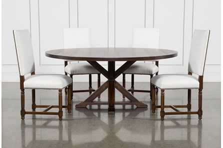 La Phillippe Cognac 72 Inch 5 Piece Round Dining With Pacifica White Chairs