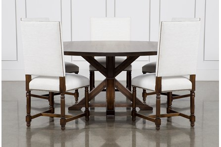 La Phillippe Cognac 72 Inch 6 Piece Round Dining With Pacifica White Chairs