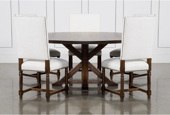 La Phillippe Cognac 72 Inch 6 Piece Round Dining With Pacifica White Chairs - 360